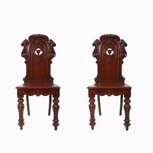 Chaises d'Entrée Antiques en Acajou, Set de 2