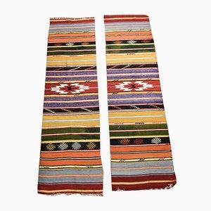 Alfombras de pasillo turcas bohemias vintage de lana multicolor, 1962. Juego de 2