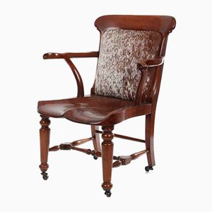 Chaise de Bureau Antique en Acajou Massif
