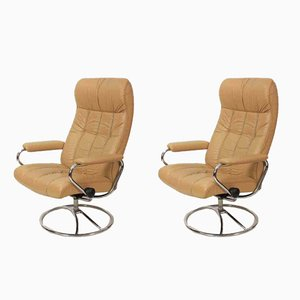 Vintage Leather Reclining Armchairs, Set of 2