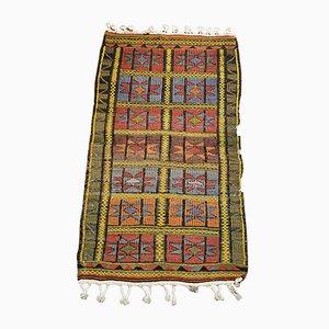 Alfombra Kilim turca bohemia vintage de lana bordada multicolor, años 60