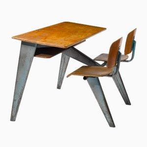 Banco scolastico Mid-Century son sedie di Jean Prouvé