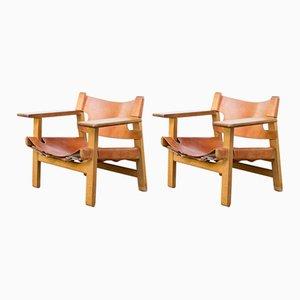 Vintage Modell Spanische Stühle von Børge Mogensen für Fredericia, 1950er, 2er Set