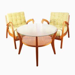 Poltrone Mid-Century con tavolino da caffè di A. Kropacek & K. Kozelka per Ceske Umelecke Dilny, anni '40, set di 3