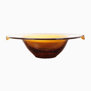 Czechoslovakian Amber Glass Bowl from Dílo, 1960s