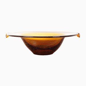Czechoslovakian Amber Glass Bowl from Dílo, 1960s