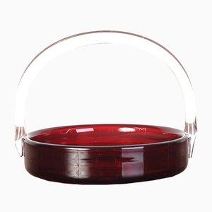 Tschechoslowakische karminrote Glasschale, 1930er