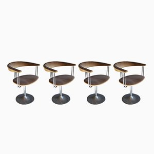 Italienischer Drehstuhl mit Gestell aus Chrom, 1970er, 4er Set