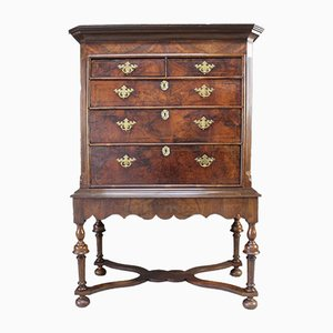 Antique Queen Anne Walnut Chest On Stand