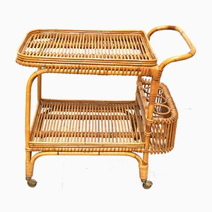 Mid-Century Wicker Serving Cart from Vittorio Bonacina