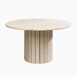 Tavolo da pranzo rotondo modernista in travertino, anni '70