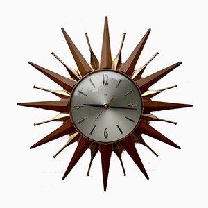 Reloj de pared en forma de estrella vintage de Metamec, años 60