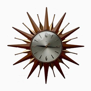 Vintage Starburst Wall Clock from Metamec, 1960s