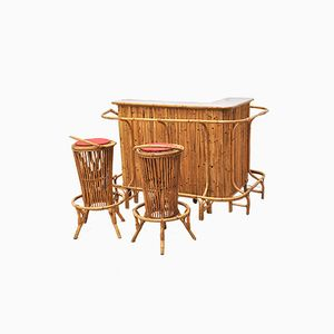 Tiki Bar Counter with Two Stools from Vittorio Bonacina, 1960s