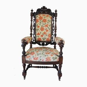 Chaise Trône Victorienne Antique Sculptée