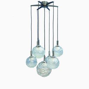 Lámpara colgante en cascada de cristal hielo de Doria, años 60
