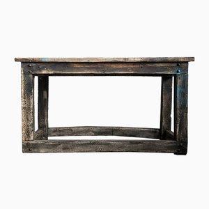 Mesa de trabajo industrial vintage de madera