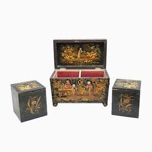Caja de té con chinoiserie, década de 1790