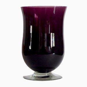 Große violette Mid-Century Glasvase