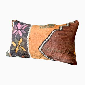 Black, Orange, Brown, & White Floral Wool Lumbar Kilim Pillow by Zencef, 2011