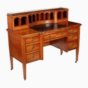 Antiker Schreibtisch aus Seidenholz mit Intarsien