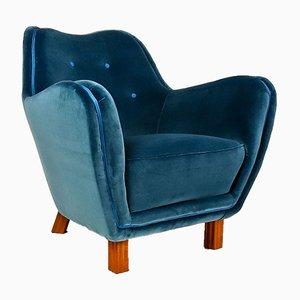 Fauteuil Mid-Century en Velours Bleu