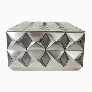 Diamond Point Silver Plated Metal Box by Francoise Sée, 1970s