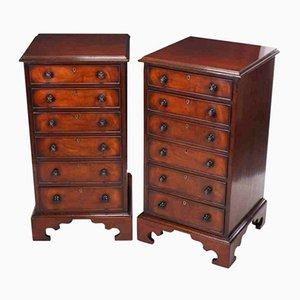 Antike Nacht- oder Büroschränke aus Nussholz, 2er Set