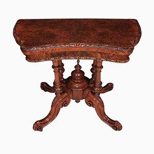 Table à Cartes Concave Antique en Loupe de Noyer, Irlande, 1870s