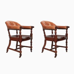 Oak and Leather Library Captains Desk Chairs, 1880s, Set of 2