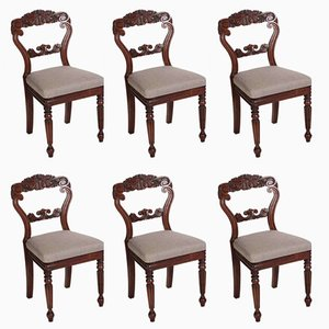 Carved Cuban Mahogany Dining Chairs, 1830s, Set of 6