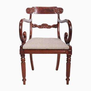 Chaise de Sculpteur de Bibliothèque Antique en Acajou