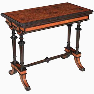 Ebony and Walnut Inlaid Card Table, 1880s