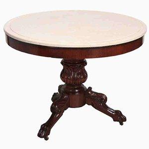 Tavolino in mogano con ripiano in marmo, inizio XIX secolo