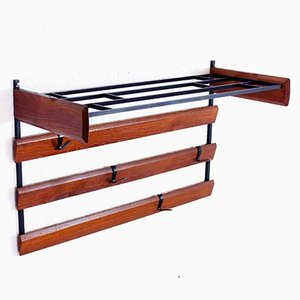 Teak Coat Rack with Removable Metal Hooks, 1970s