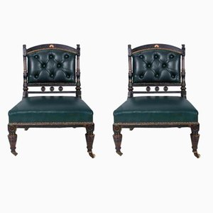 Antique Ebonised and Gilt Leather Nursing Chairs, Set of 2