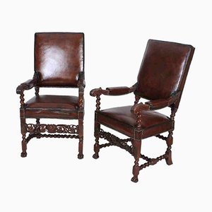 Carved Walnut and Leather Armchairs, 1880s, Set of 2