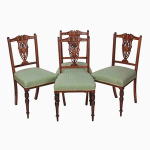 Marquetry Inlaid Rosewood Dining Chairs, 1900s, Set of 4