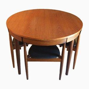 Tavolo da pranzo allungabile con sedie di Hans Olsen per Frem Rojle, anni '50, set di 5