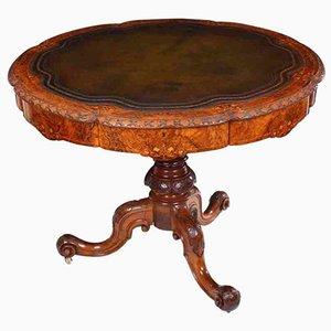 Mesa de centro de madera nudosa de nudo de marquetería, década de 1870