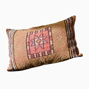 Pink, Red, & Orange Embroidered Wool Lumbar Kilim Pillow by Zencef, 2012