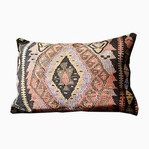 Pink, Red, Orange, Black, & Grey Embroidered Wool Lumbar Kilim Pillow by Zencef, 2012