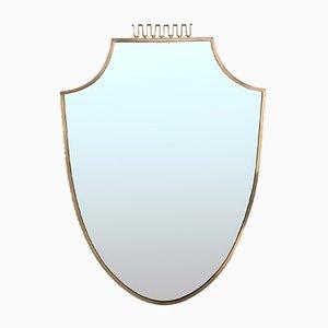 Italienischer Spiegel mit Rahmen aus Messing, 1950er