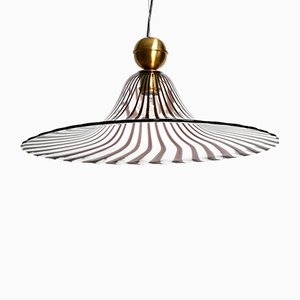 Tulip Ceiling Lamp with Purple Stripes from Murano Vetri, 1970s