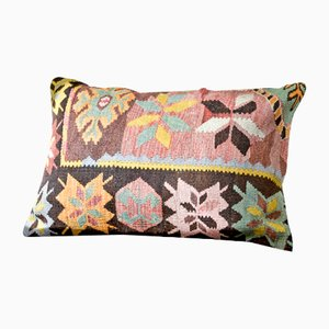 Pink, Brown, Green, Black, & Grey Embroidered Wool Lumbar Kilim Pillow by Zencef, 2017