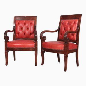 Empire Mahogany Library Chairs, Set of 2