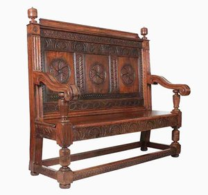 Carved Oak Hall Bench, 1880s