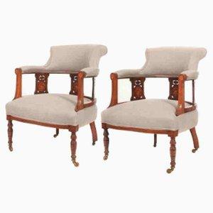 Armlehnstühle aus Palisander und Mahagoni mit Intarsien, 1800er, 2er Set