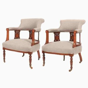 Marquetry Inlaid Rosewood and Mahogany Armchairs, 1800s, Set of 2