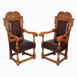 Carved Oak and Leather Armchairs, 1920s, Set of 2